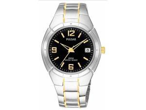 Pulsar PXH172 Men's Quartz Two Tone Black Dial Stainless Steel Watch