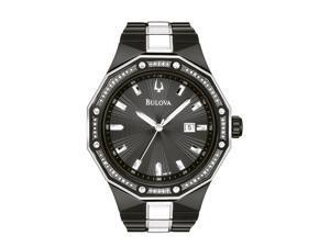 Bulova Diamond Collection Two-tone Bracelet Black Dial Men's watch #98E110