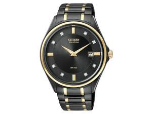 Citizen Eco-Drive IP Bracelet Diamonds Black Dial Men's watch #AU1058-53G