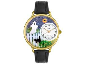 Halloween Ghost Black Skin Leather And Goldtone Watch #G1220032