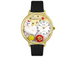 Maltese Black Skin Leather And Goldtone Watch #G0130051