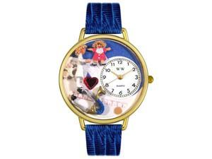 Pediatrician Royal Blue Leather And Goldtone Watch #G0620006