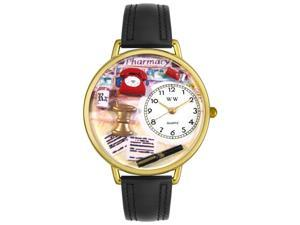 Pharmacist Black Padded Leather And Goldtone Watch #G0620014