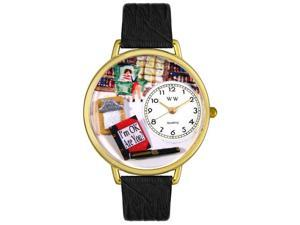 Psychiatrist Black Skin Leather And Goldtone Watch #G0610010