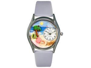 Palm Tree Baby Blue Leather And Silvertone Watch #S1210010