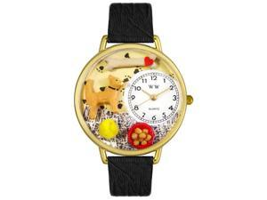 Chihuahua Black Skin Leather And Goldtone Watch #G0130023