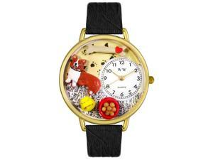 Corgi Black Skin Leather And Goldtone Watch #G0130029