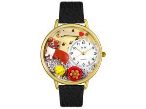 Corgi Black Skin Leather And Goldtone Watch #G0130029