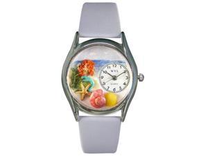 Mermaid Baby Blue Leather And Silvertone Watch #S1210011