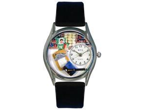Psychiatrist Black Leather And Silvertone Watch #S0640005