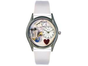 Nurse Blue White Leather And Silvertone Watch #S0610002