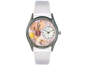 Massage Therapist White Leather And Silvertone Watch #S0630011