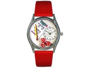 Bunco Red Leather And Silvertone Watch #S0430001