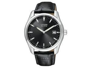 Citizen Eco-Drive Leather Strap Black Dial Men's watch #AU1040-08E