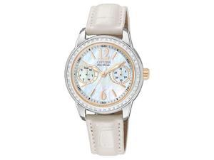 Citizen FD1036-09D Women's Mother Of Pearl Dial Crystal Solar Powered Watch