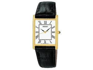 Seiko Dress Black Leather Strap Mens Watch SNF672
