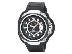 Pulsar PXH711 Men's Black Dial Urethane Rubber Strap Quartz Watch