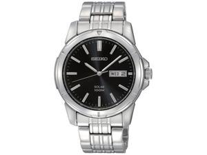 Seiko Solar Day/Date Window Black Dial Men's watch #SNE093