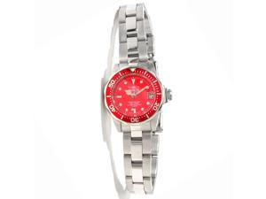 Invicta 12522 Women's Pro Diver Red Dial Stainless Steel Bracelet Watch