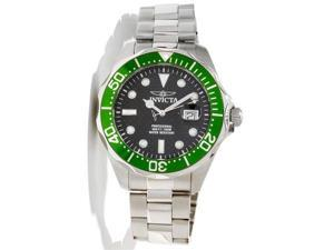 Invicta 12564 Men's Grand Diver Black Carbon Fiber Dial Green Bezel Stainless St
