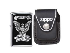 Zippo 28290 Classic High Polish Chrome America Eagle Windproof Pocket Lighter wi