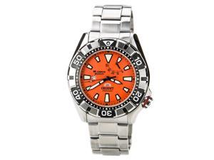 Orient SEL03002M Men's M-Force Automatic Power Reserve Orange Dial Watch