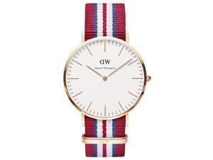 [破盤出清]DW Daniel Wellington Exeter 時尚男錶-玫瑰金框x紅藍白錶帶/40mm-0112DW