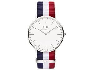 [破盤出清]DW Daniel Wellington 劍橋系列經典腕錶-銀框x藍白紅錶帶/40mm-0203DW