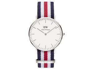[破盤出清]DW Daniel Wellington 經典藍白紅帆布時尚腕錶-銀框/36mm(0606DW)