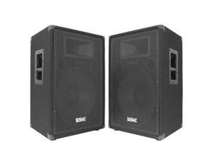 "Seismic Audio - Two 15"" PA/DJ Speaker Cabinets with Titanium Horns"