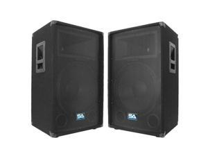 "Seismic Audio SA-15T Two 15"" PA/DJ Speaker Cabinets or 15"" Floor Monitor"