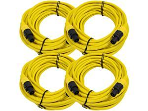 Seismic Audio - TW12S50Yellow-4Pack - Four Pack of 12 Gauge 50 Foot Yellow Speakon to Speakon Professional Speaker Cables ...