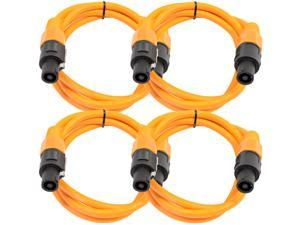 Seismic Audio - TW12S5Orange-4Pack - Four Pack of 12 Gauge 5 Foot Orange Speakon to Speakon Professional Speaker Cables - ...