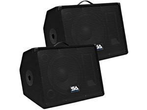 "Seismic Audio - PAIR of 12"" Stage/Floor Monitor Speaker Cabinets PA/DJ"