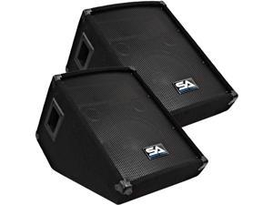 Seismic Audio - PAIR of 10 Inch Wedge Style Stage/Floor Monitor Speaker Cabinets