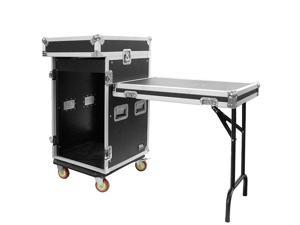 Seismic Audio - SAMRWT-16U - 16 Space Rack Case with 10 Space Slant Mixer Top and DJ Work Table - PA/DJ Pro Audio Road Case ...