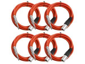 Seismic Audio - 6 Pack of Red 10 foot XLR Male to TRS Male Patch Cables - Snake Microphone Cord