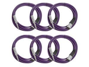 Seismic Audio - 6 Pack of Purple 10 foot XLR Male to TRS Male Patch Cables - Snake Microphone Cord