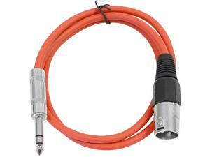 Seismic Audio - Red 2 foot XLR Male to TRS Male Patch Cable - Snake Microphone Cord