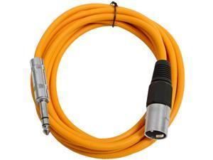 Seismic Audio - Orange 10 foot XLR Male to TRS Male Patch Cable - Snake Microphone Cord