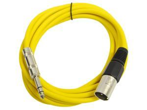 Seismic Audio - Yellow 10 foot XLR Male to TRS Male Patch Cable - Snake Microphone Cord