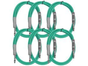 """Seismic Audio - SASTSX-3 (6 Pack) - 3 Foot TS 1/4"""" Guitar, Instrument, or Patch Cables Green"""