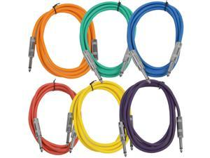 "Seismic Audio - SASTSX-6 (6 Pack) - 6 Foot TS 1/4"" Guitar, Instrument, or Patch Cables Colored"