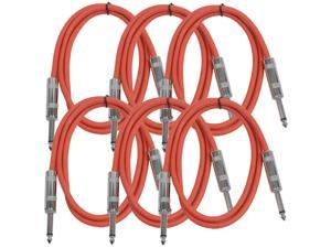 "Seismic Audio - SASTSX-3 (6 Pack) - 3 Foot TS 1/4"" Guitar, Instrument, or Patch Cables Red"