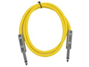 "Seismic Audio - SASTSX-3 - 3 Foot TS 1/4"" Guitar, Instrument, or Patch Cable Yellow"