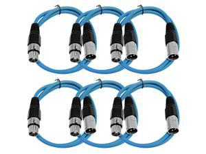 Seismic Audio - 6 Pack of Blue 3' XLR male to XLR female Patch Cable