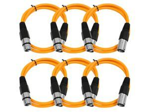 Seismic Audio - 6 Pack of Orange 3' XLR male to XLR female Patch Cable