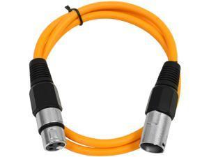 Seismic Audio - Orange 3' XLR male to XLR female Patch Cable