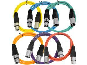 Seismic Audio - 6 Pack of 3' XLR male to XLR female Patch Cable