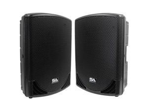 """Seismic Audio - MainShock-15-Pair - Pair of Powered 2-Way 15"""" PA / DJ Molded Speaker Cabinets with Titanium Horns - Active ..."""